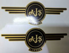 AJS London Stickers x2 A.J.S Decals Logo Tank Motorcycle Vintage Black & GOLD